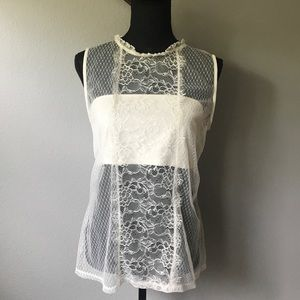 EXPRESS Ivory floral lace sleeveless tank top